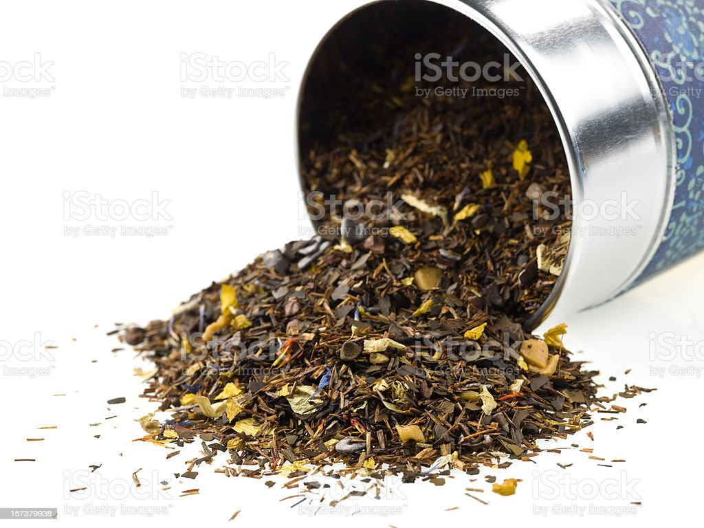 Flavored mixture of dried Chinese tea leaves stock photo