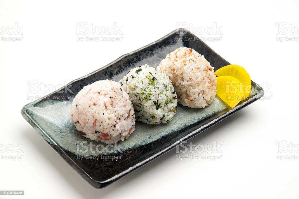 flavored onigiri stock photo