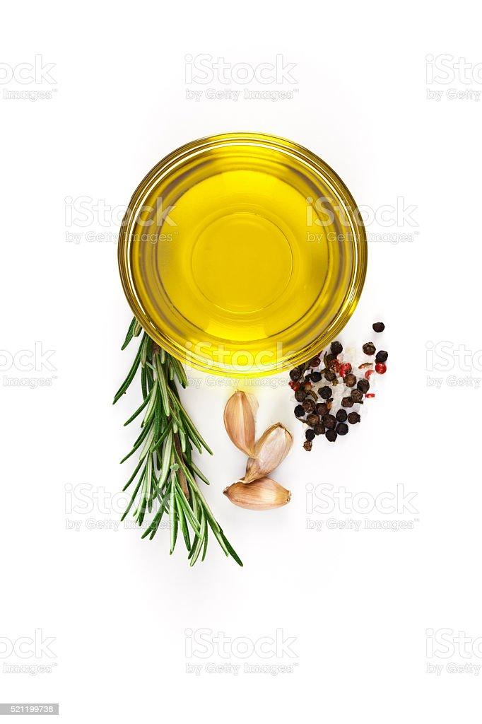Flavoring ingredients: olive oil, garlic, pepper and rosemary stock photo