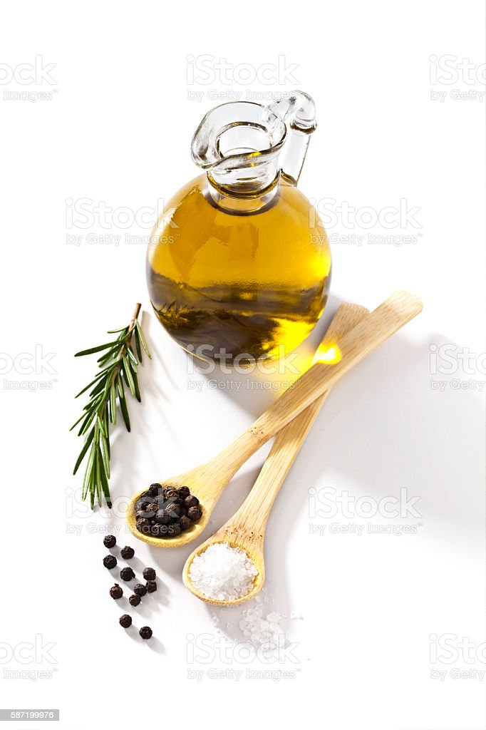 Flavoring ingredients: olive oil, salt, pepper and rosemary stock photo