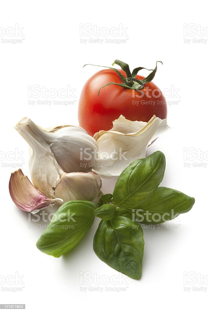 'Flavouring: Basil, Garlic and Tomato' stock photo