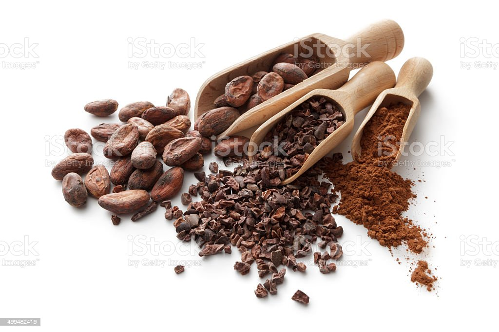 Flavouring: Cacao Beans, Nibs and Powder stock photo