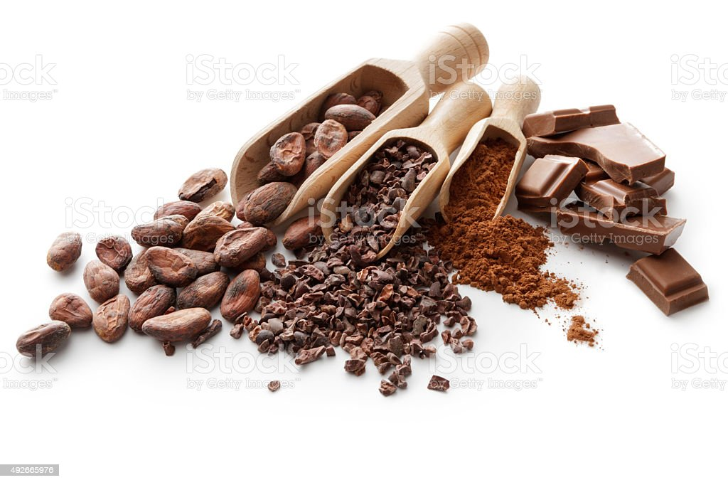 Flavouring: Cacao Beans, Nibs, Powder and Chocolate Bar stock photo