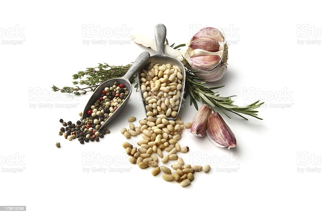 Flavouring: Garlic, Pine Nut, Rosemary, Thyme and Pepper royalty-free stock photo