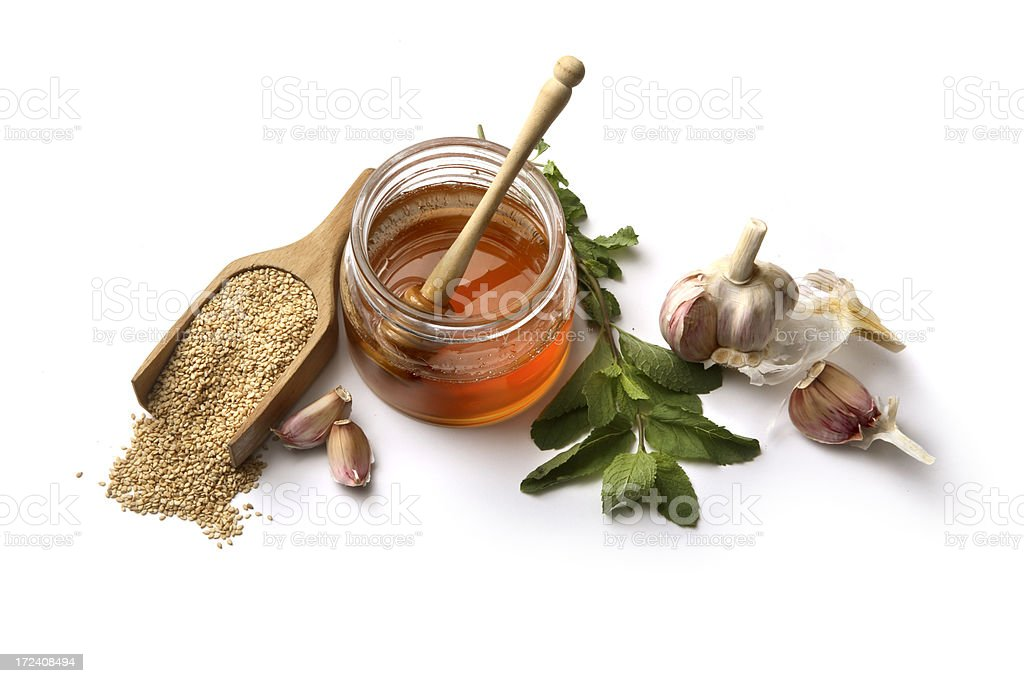 Flavouring: Honey, Sesame Seed, Mint and Garlic royalty-free stock photo