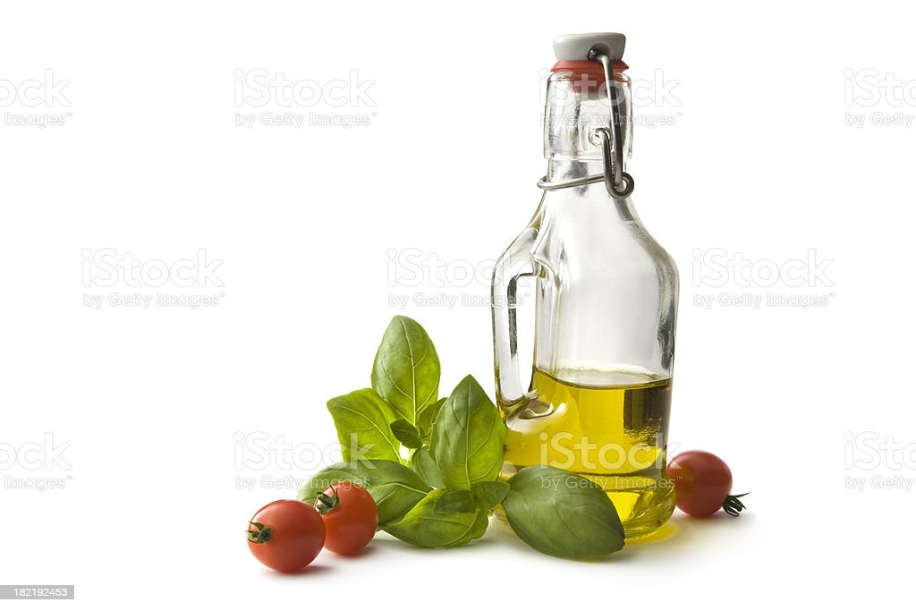 Flavouring: Olive Oil, Cherry Tomato and Basil royalty-free stock photo