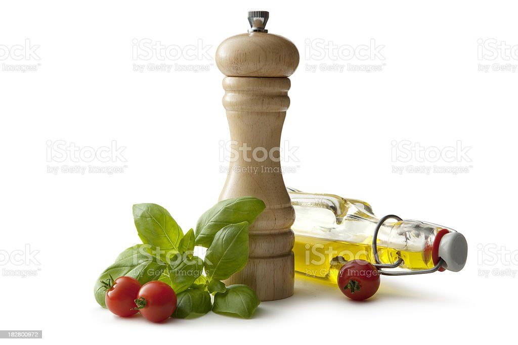 Flavouring: Pepper, Olive Oil, Basil and Cherry Tomato royalty-free stock photo