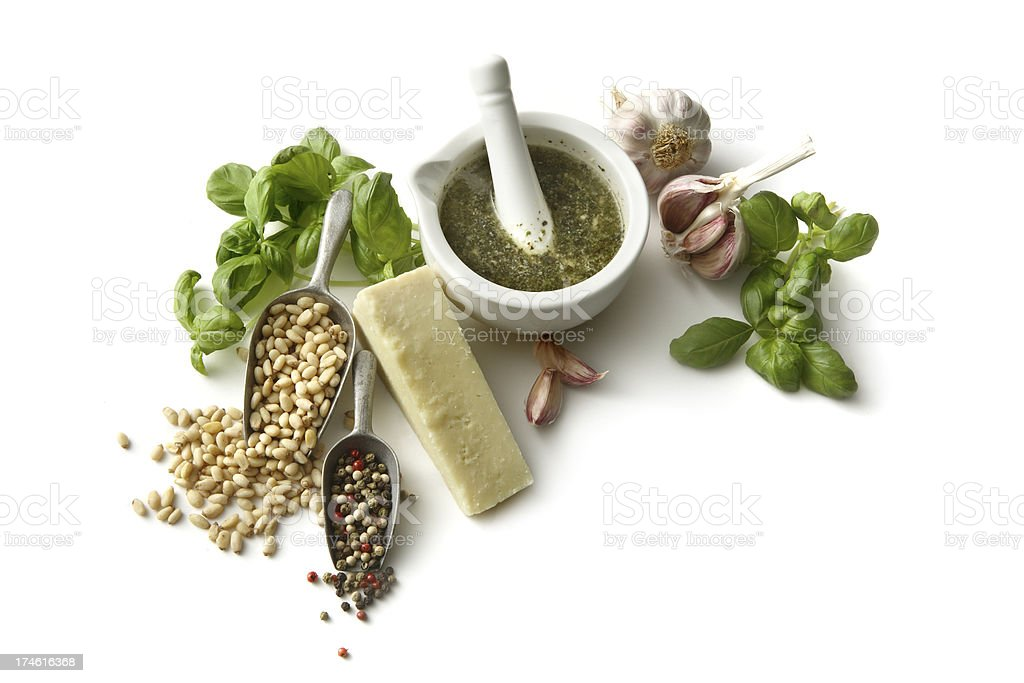 Flavouring: Pesto and Ingredients Isolated on White Background royalty-free stock photo