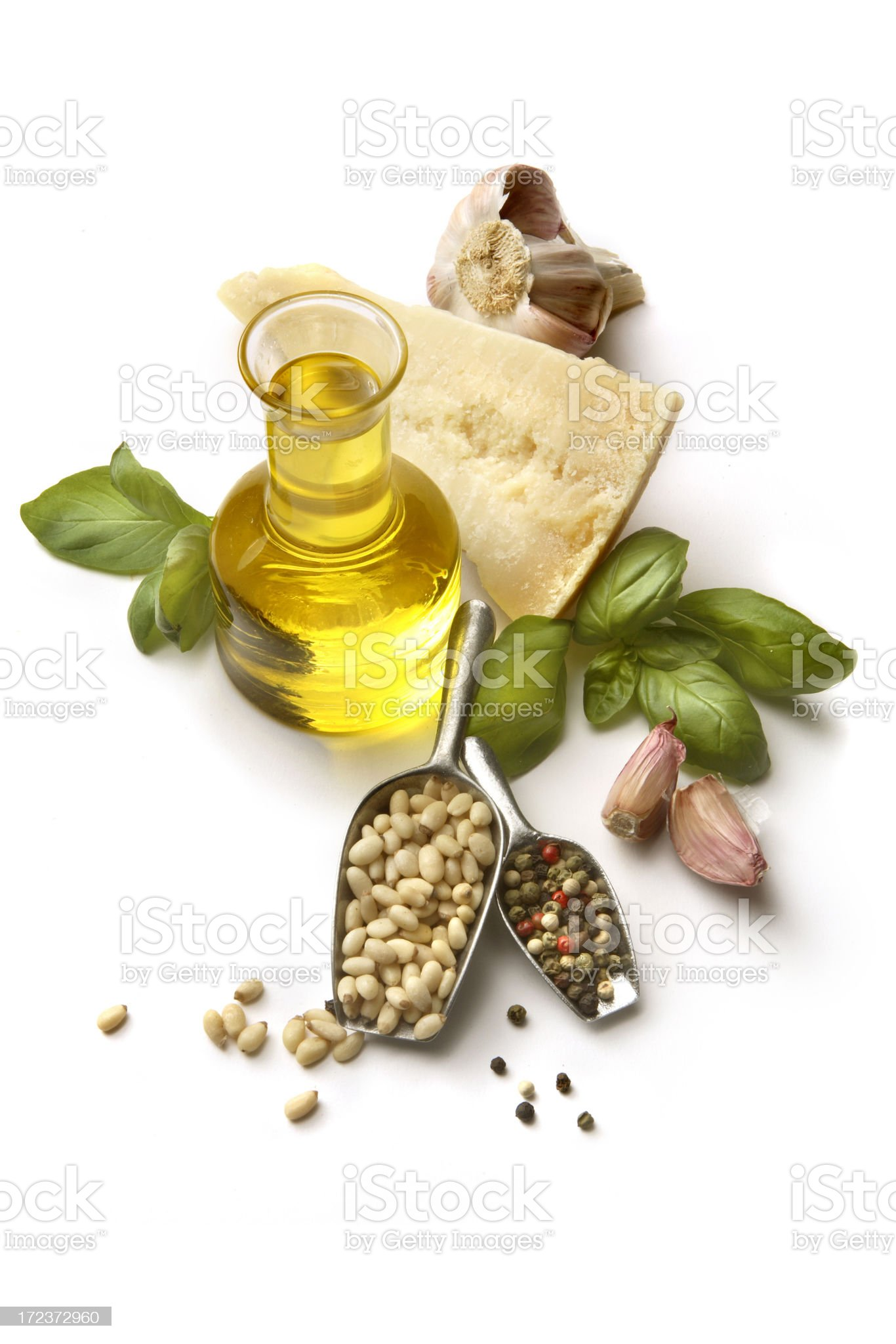 Flavouring: Pesto Ingredients Isolated on White Background royalty-free stock photo