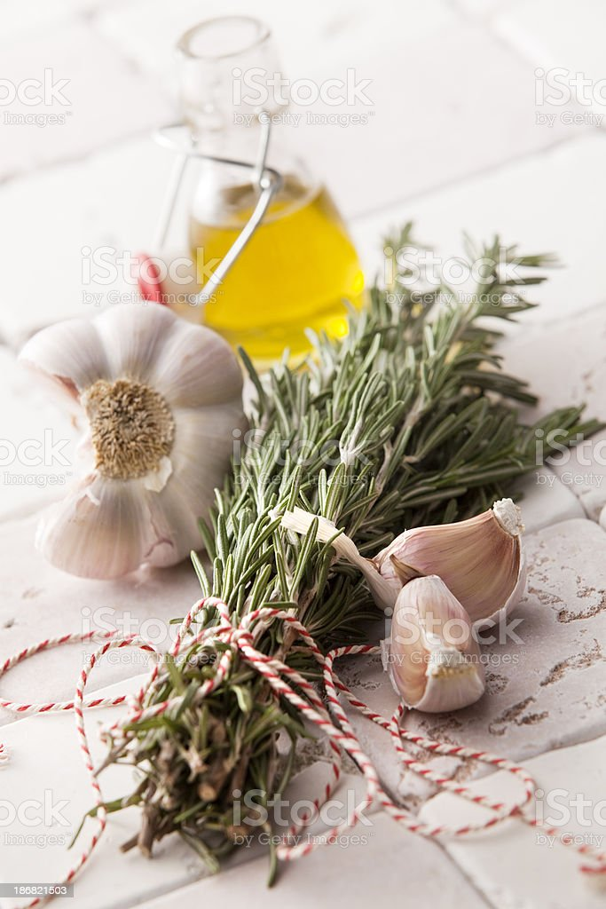 Flavouring: Rosemary, Garlic and Olive Oil royalty-free stock photo