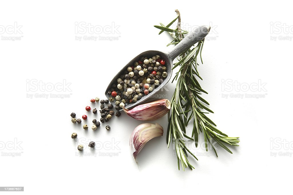 Flavouring: Rosemary, Pepper and Garlic stock photo