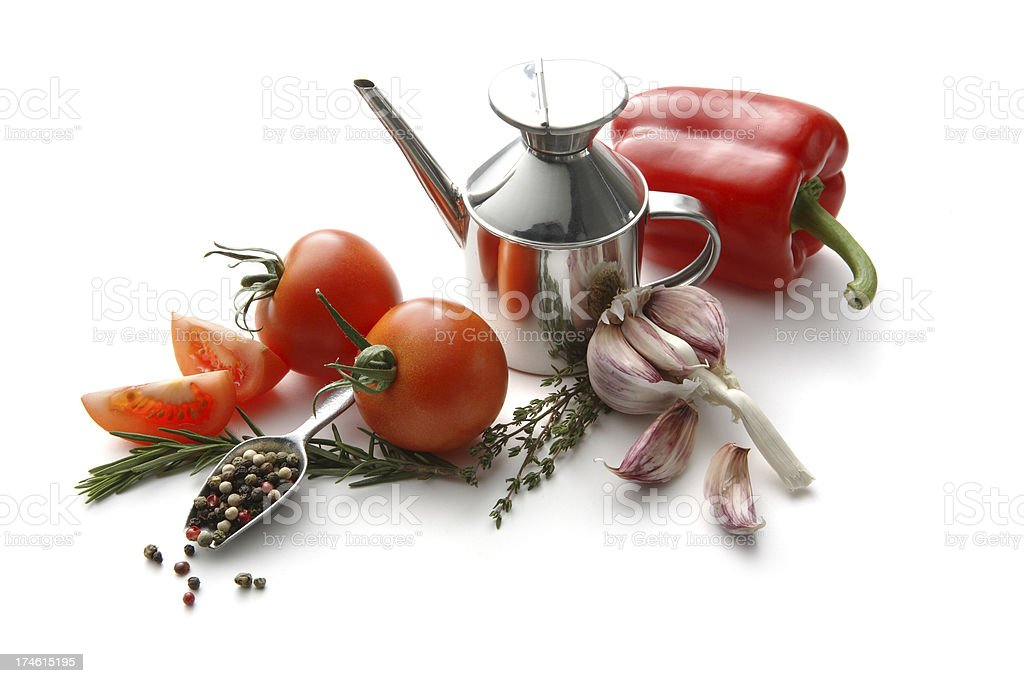 Flavouring: Tomato, Bell-Pepper, Olive Oil, Garlic, Thyme and Pepper royalty-free stock photo