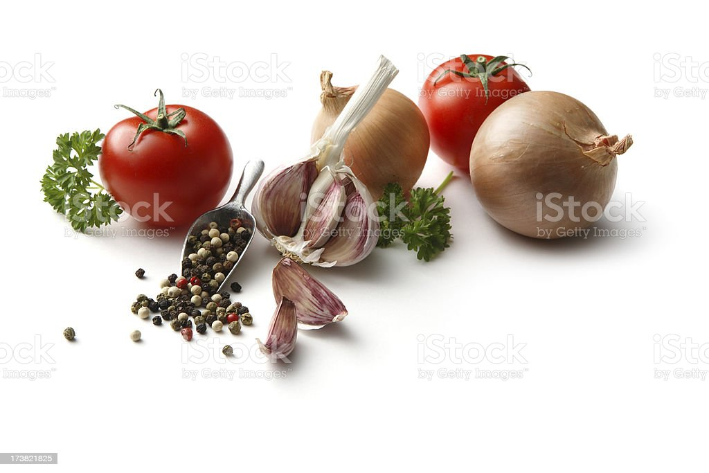 Flavouring: Tomato, Onion, Parsley, Garlic and Pepper royalty-free stock photo