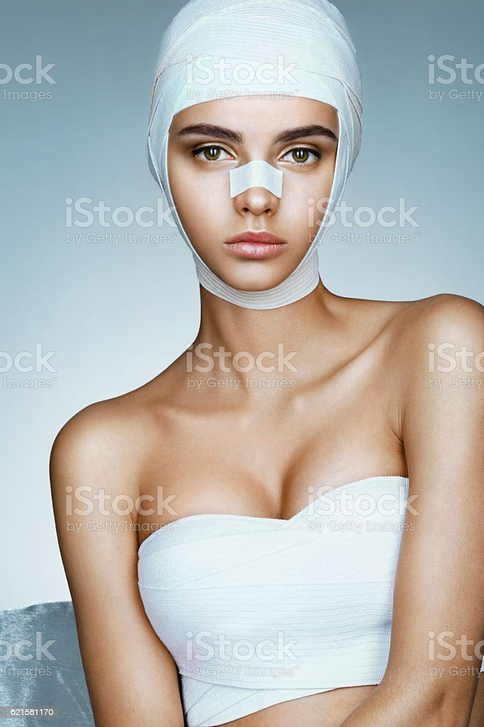 Flawless face of young beautiful woman. stock photo