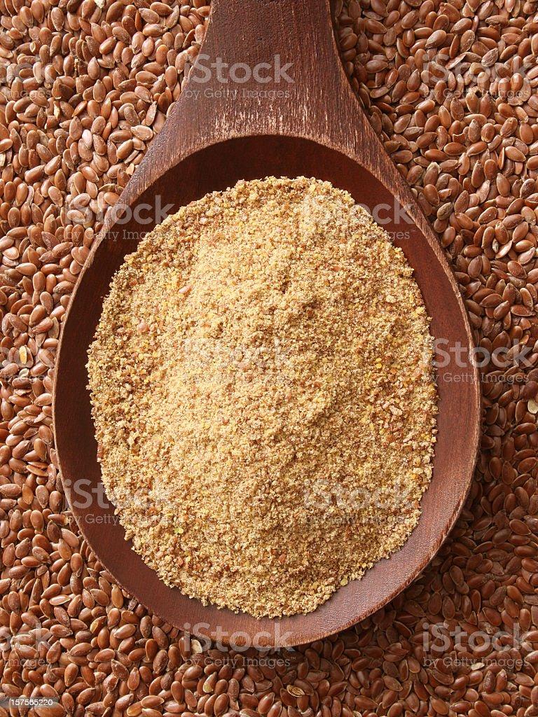 Flax flour stock photo