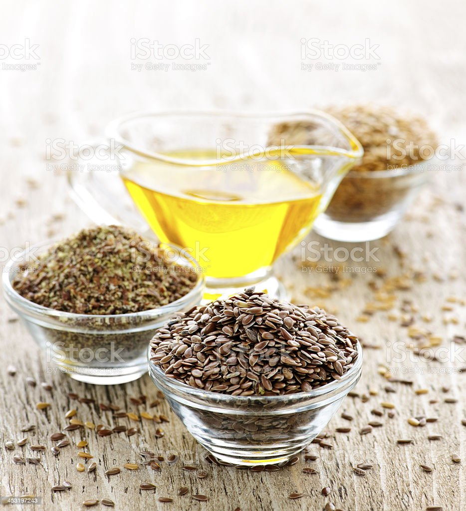 Flax seed and linseed oil stock photo