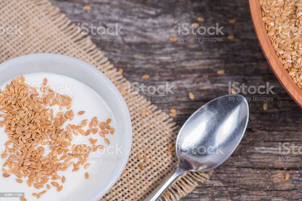 Flax seed and yogurt stock photo