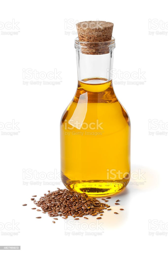 Flax seed oil and seeds stock photo