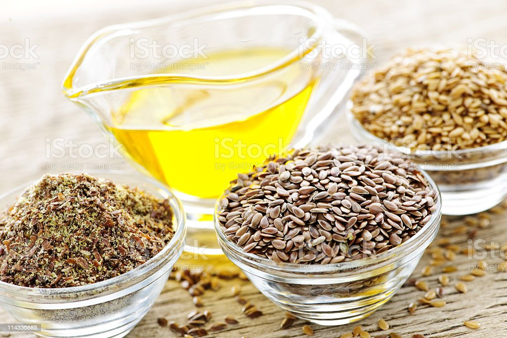 Flax seeds and linseed oil stock photo
