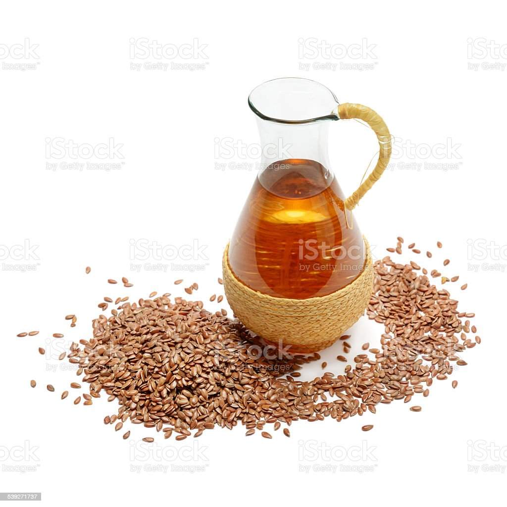 flax seeds and oil stock photo
