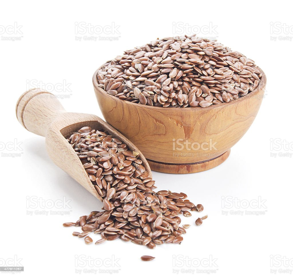 flax seeds isolated on white stock photo