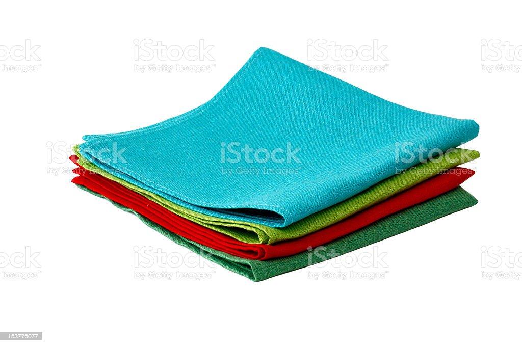 Flax table napkins on white background isolated stock photo