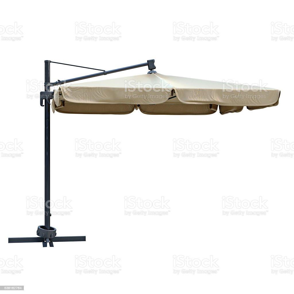 Flaxen beach umbrella stock photo