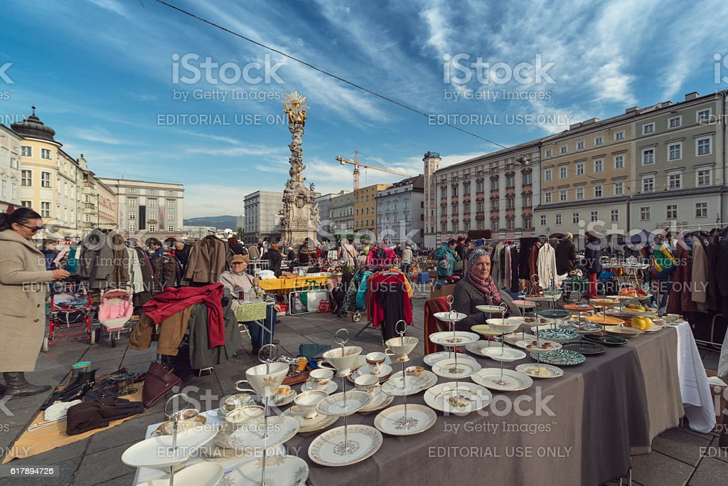 flea market at main quare of linz in upper austria stock photo