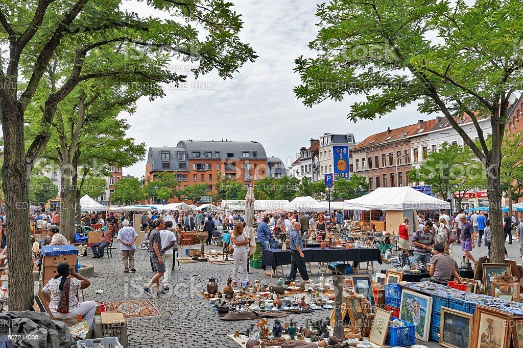 Flea market at Place du Jeu de Balle stock photo