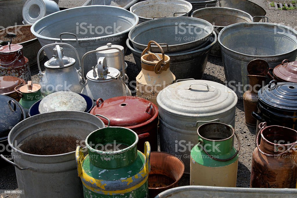 Flea market churns stock photo