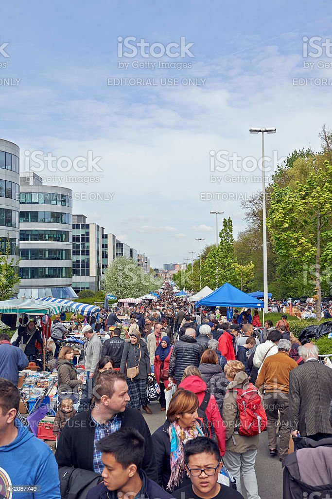 Flea market each first day of May in Brussels stock photo