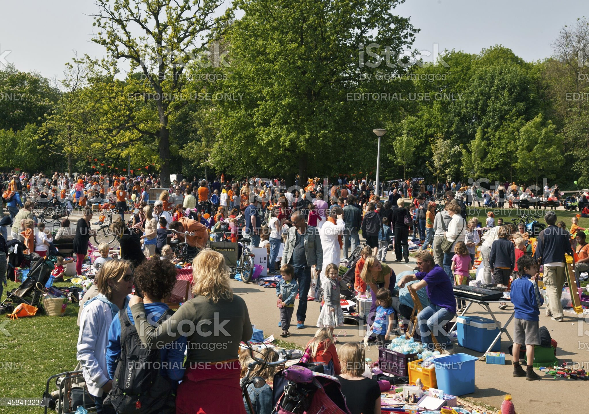 Flea market for children in the Vondelpark during Queen's Day royalty-free stock photo