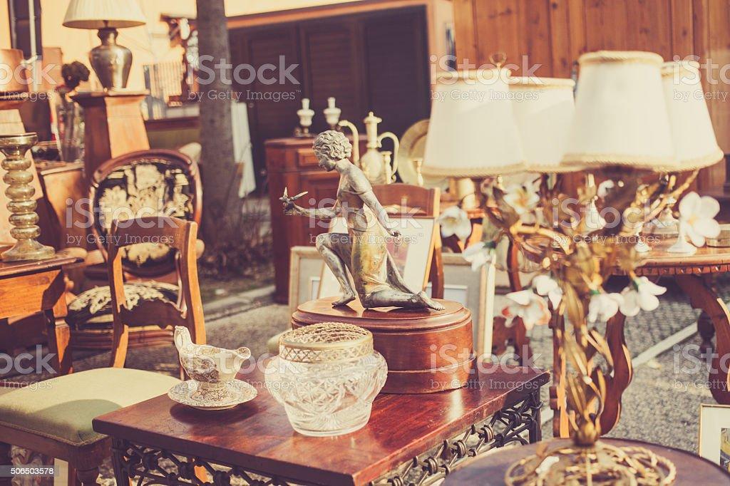 Flea market in Italy stock photo
