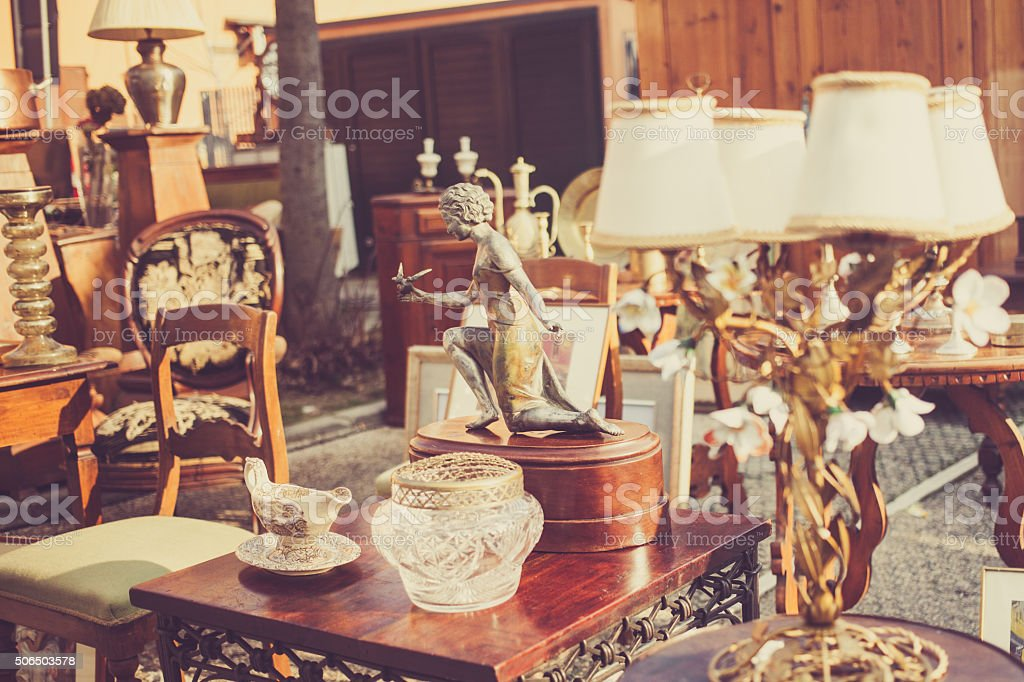 Flea market in Italy stock photo