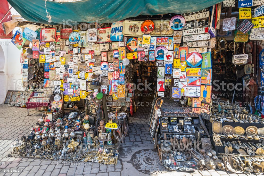 Flea market in Marrakesh, Morocco stock photo