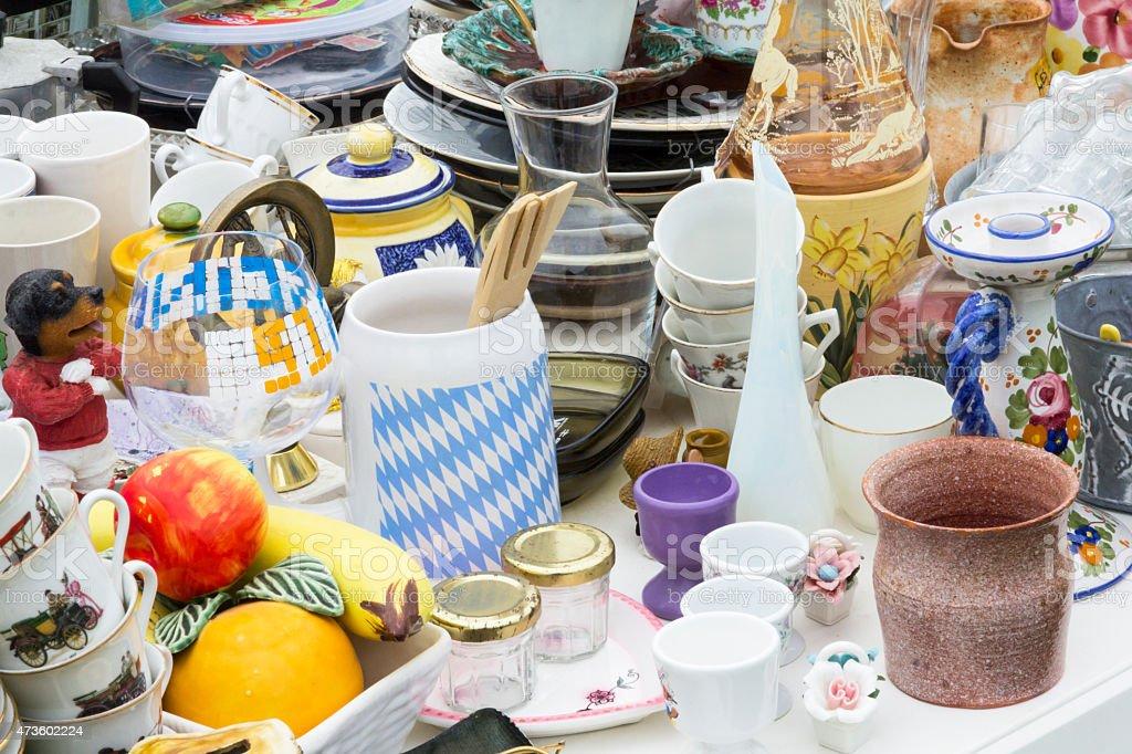 Flea market in Normandy stock photo