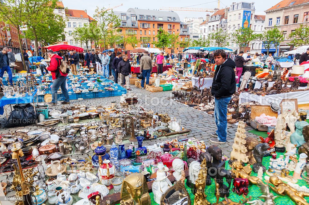 flea market in the Marolles district in Brussels, Belgium stock photo