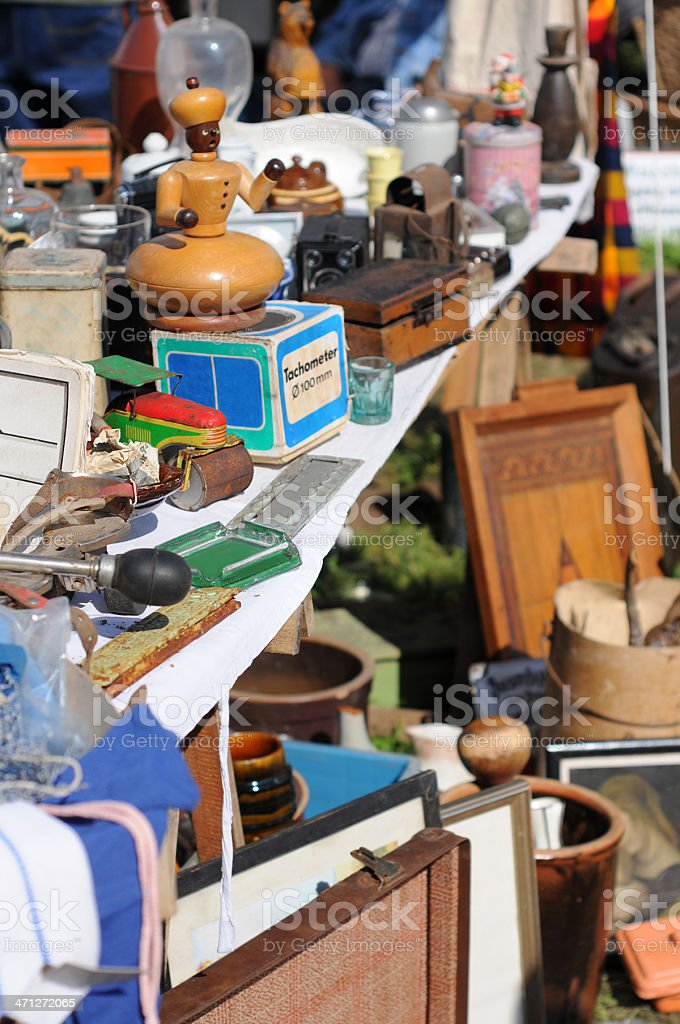 Flea Market with antique house stuff - Flohmarkt in Havelberg stock photo