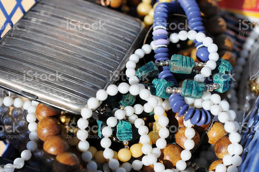 Flea Market with antique jewelry - Flohmarkt in Havelberg royalty-free stock photo