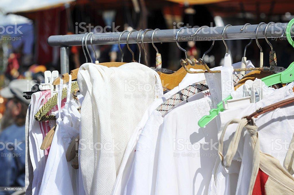 Flea Market with antique linen textile - Flohmarkt in Havelberg royalty-free stock photo