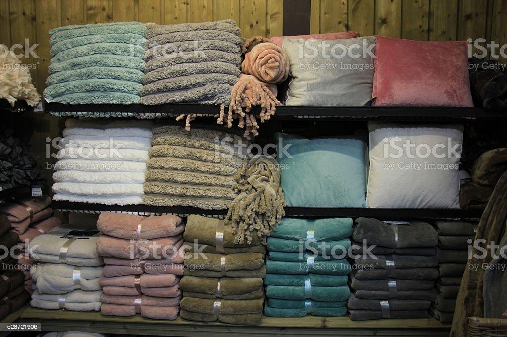 Fleece blankets and trow pillows stock photo