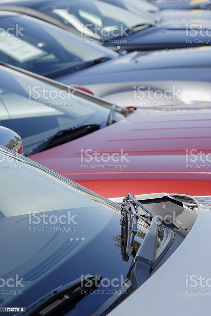Fleet of Cars parked side by side in car park royalty-free stock photo