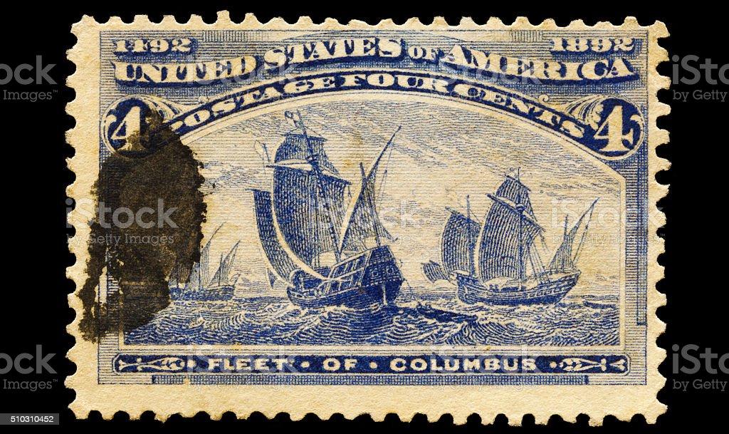 Fleet of Christopher Columbus Postal Stamp stock photo