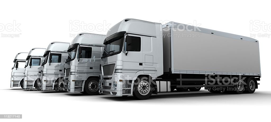 Fleet of five gigantic delivery vehicles all painted white royalty-free stock photo