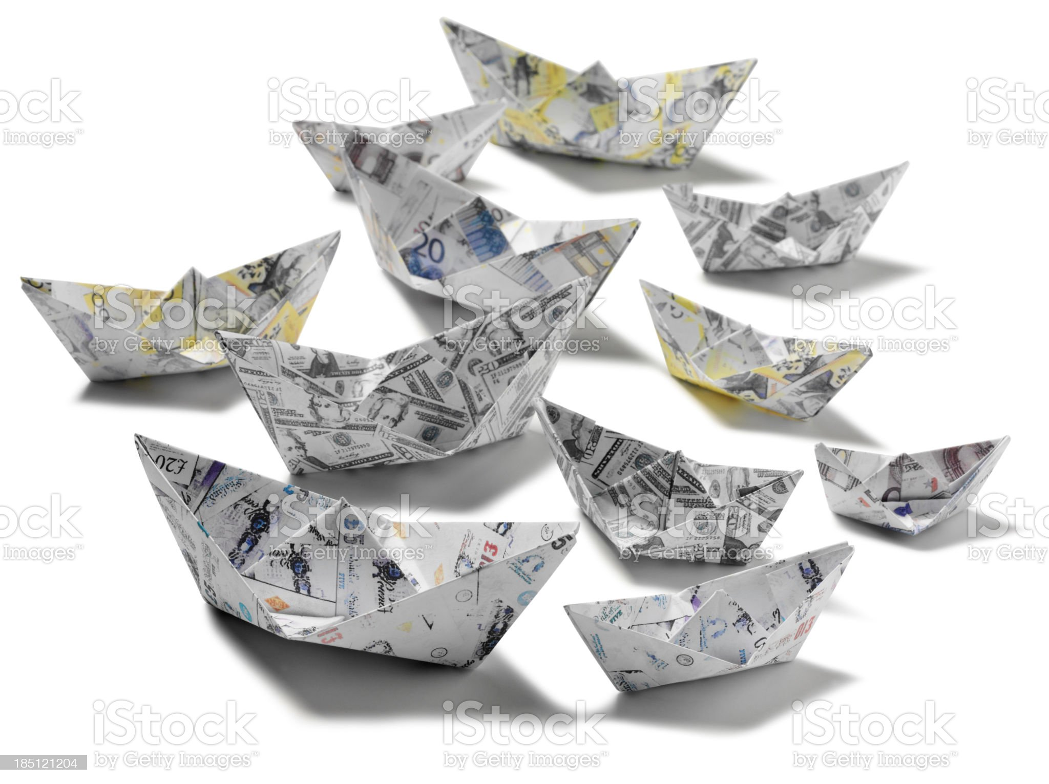 Fleet of Origami Paper Boats royalty-free stock photo