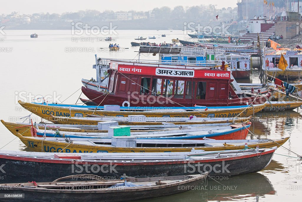 Fleet of pleasure boats moored on the river Ganges, India stock photo