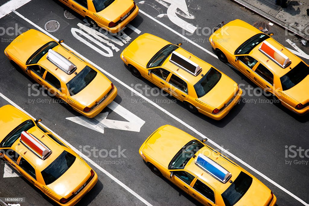 Fleet of Yellow New York City Taxi Cabs from Above stock photo