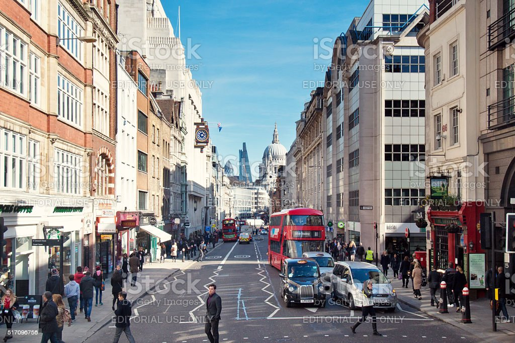 Fleet Street in London with St Paul's Cathedral in Background stock photo