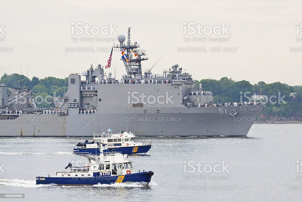 NYC Fleet Week 2014, USS Oak Hill in NY Harbor. stock photo