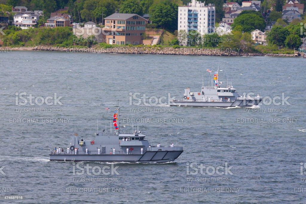NYC Fleet Week 2015, USNA Yard Patrol Boats, NY Harbor. stock photo